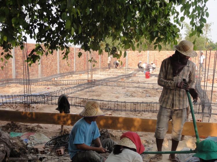 Vorbereitungen für das Betonieren