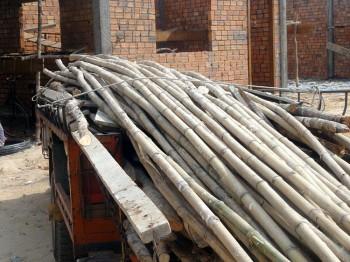 Bambusstangen für das Gerüst werden geliefert