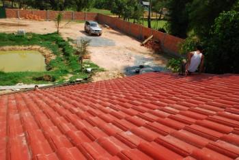 Blick vom Dach auf unser Grundstück