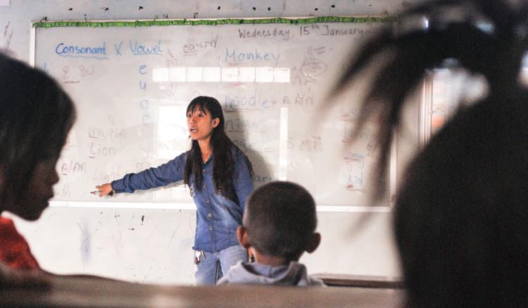 Soya beim Unterricht